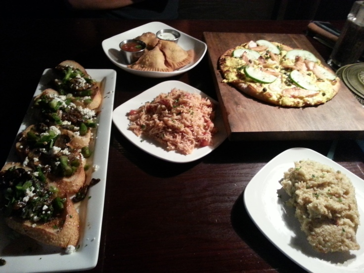 Asparagus & Mushroom Diane, Curried Spanish Rice, Cornbread Stuffing, House Cured Salmon Pizza, and Samosas.